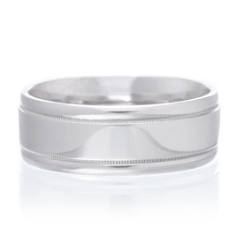 14K White Gold 4mm Low Dome Band