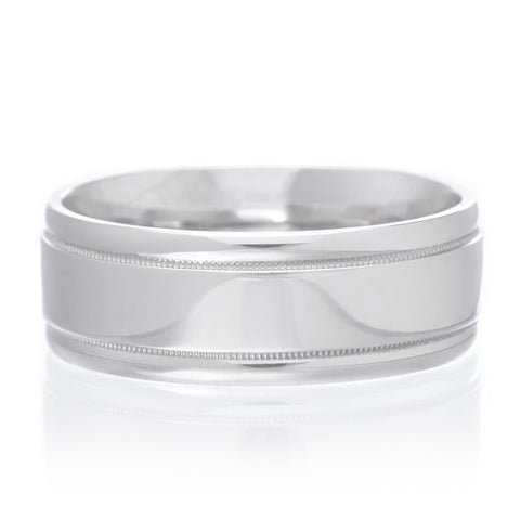 14K White Gold 7mm Sculpted Band with Brushed Finish