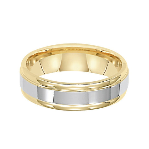 14K Two-Tone Gold Band with Brushed Center and Yellow Gold Sides 6mm