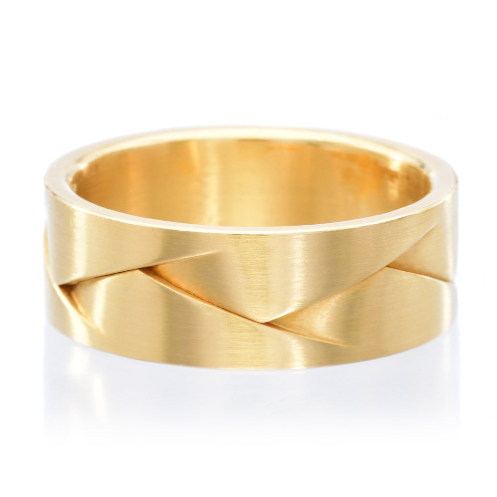 18K Yellow Gold 8mm Flat Weave Band with Satin Finish