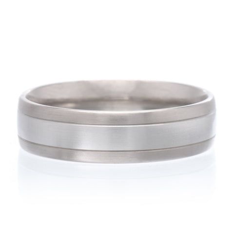 Grey Tantalum 7mm Band with Wired Center and High Polish Bevel Edges