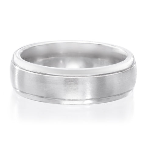 Palladium 7mm Band Satin Finish Band with Polished Edges