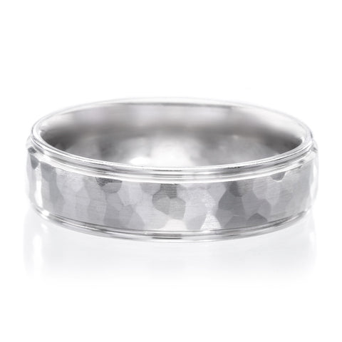 $2,950.00 Palladium 6mm Hammered Band With Brushed Edges