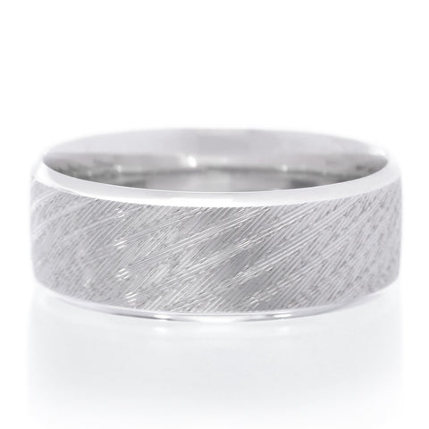 14K White Gold 8mm Brushed Cross Cut Band