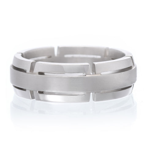 Platinum & 18K White Gold 6.5mm Grooved Band with Satin Finish