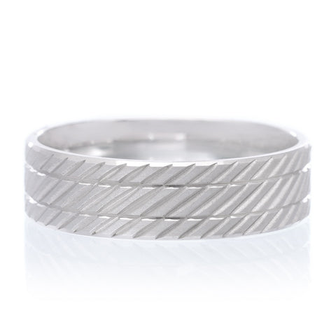Men's White Tungsten Carbide Band 7mm