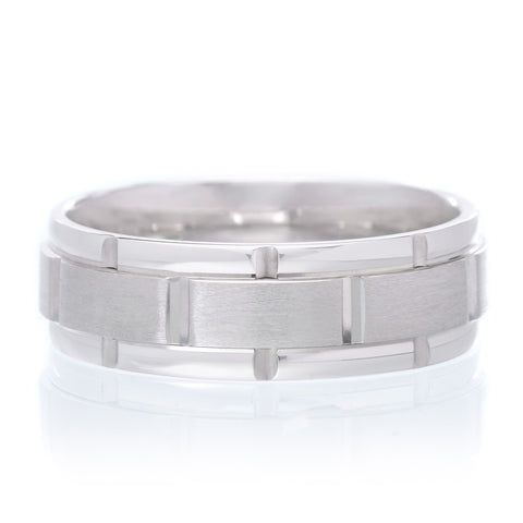 14K White Gold With Ridge Polished Band