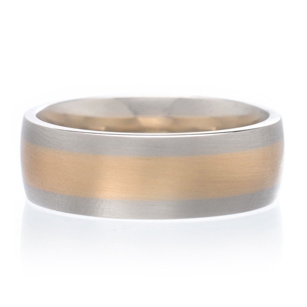 Men's 14K Two-tone Satin Finish Band 7.5mm