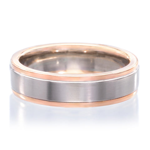 $3,060.00 18K White U0026 Rose Gold 6mm Satin Finish Band With Polished Edges
