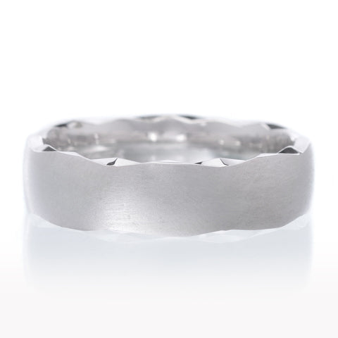 14K White Gold Etched Edge Wedding Band