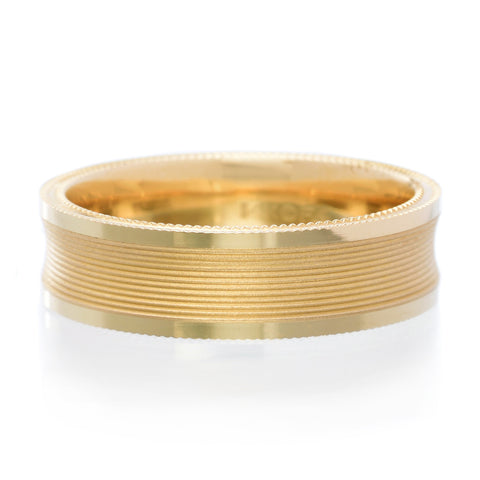 14K Yellow Gold Serrated Band with Milgrain