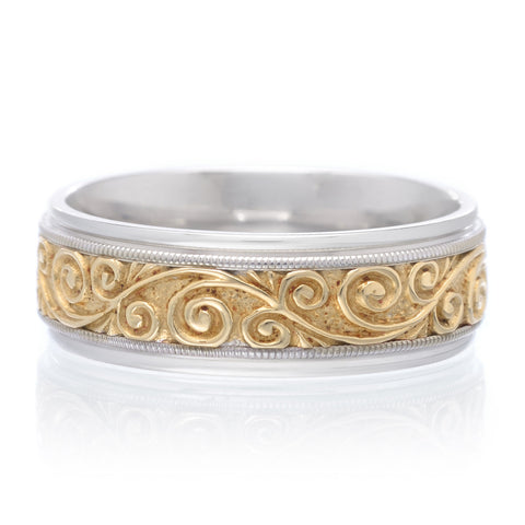 Men's 14K Two-tone Engraved Band 7.5mm