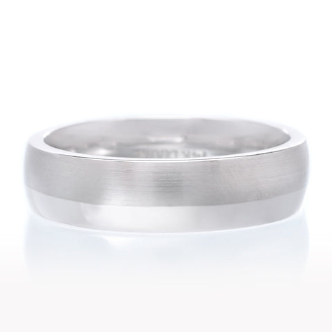 Men's Polished Center Polished Edge Coin Edge Palladium Wedding Ring 6mm