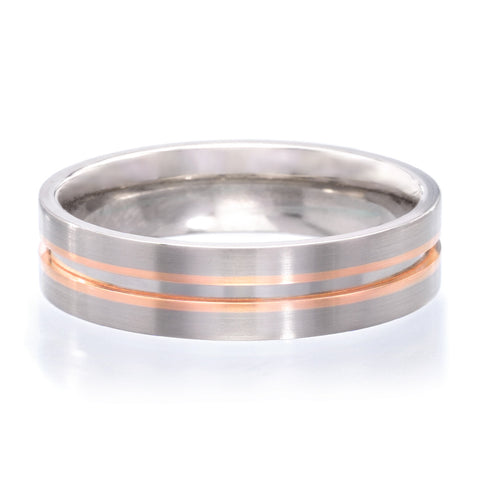 18K White & Rose Gold 5.5mm Polished Band with Satin Edges