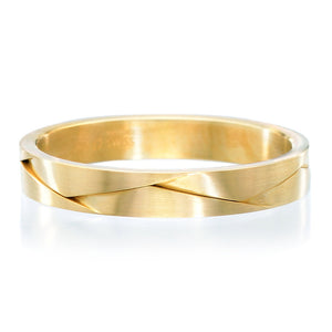 18K Yellow Gold 3.5mm Flat Weave Band