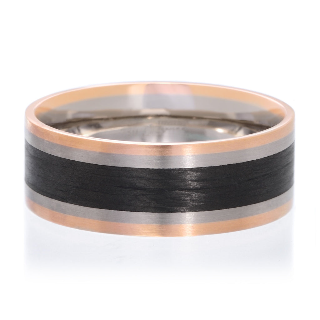 18K White & Rose Gold Carbon Fiber 8mm Band