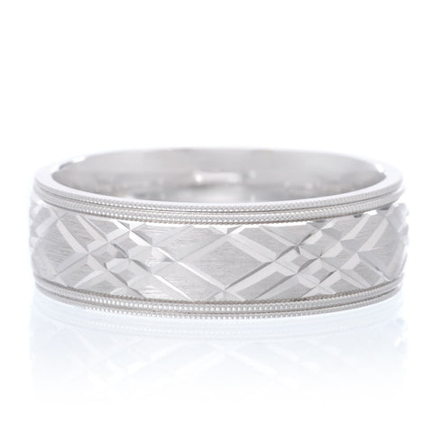 14K White Gold Band with Etched Sides and Miligrain 6.0mm