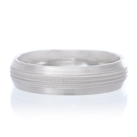 14K White Gold 6mm Low Dome Band with Milgrain