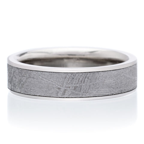 18K White Gold & Palladium Meteorite 6mm Band