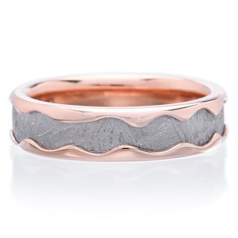 14K Rose Gold Meteorite 6mm Band with Rolled Edges