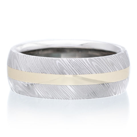 Stainless Steel 8mm Band with 18K Yellow Gold Inlay