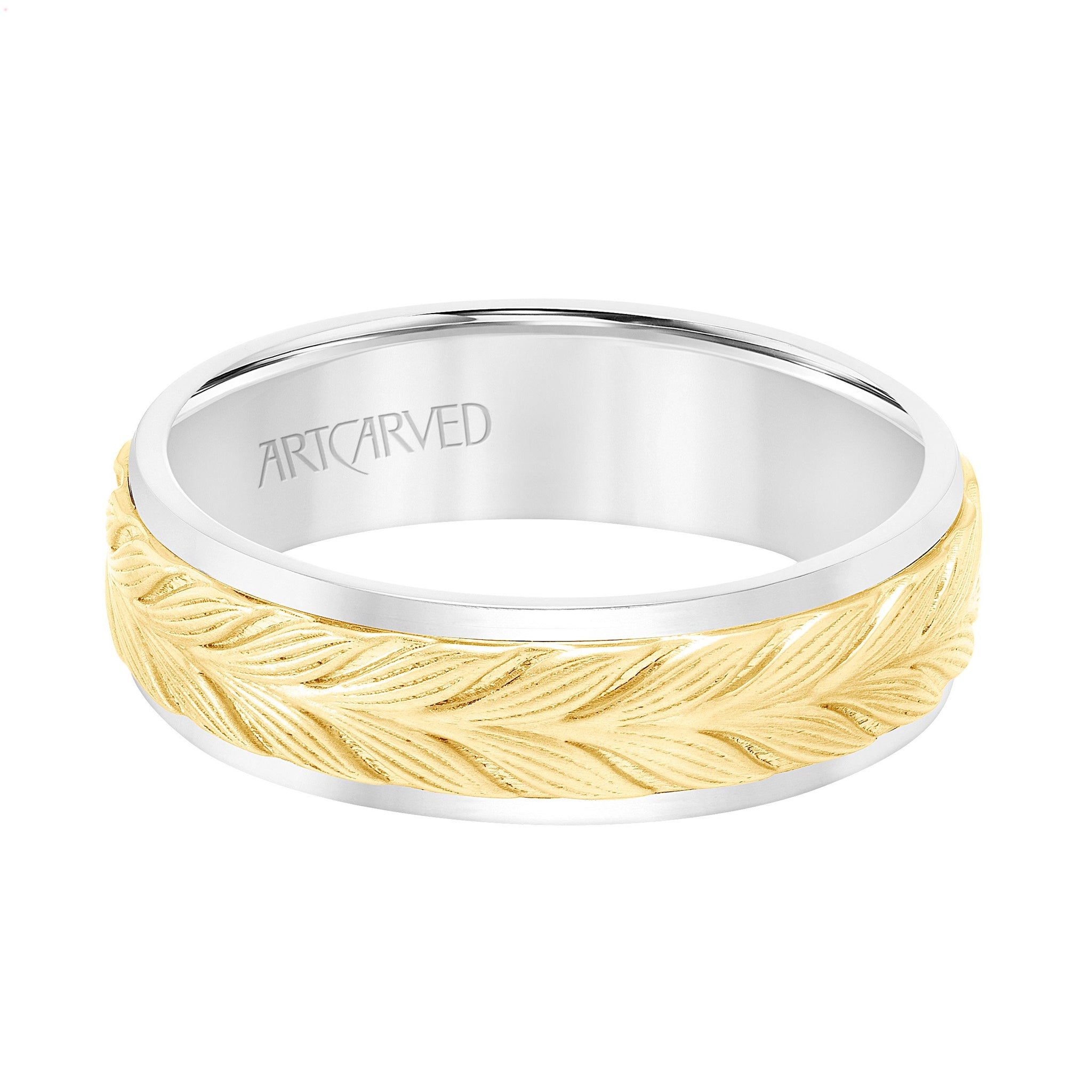 14K White and Yellow Gold Chevron Band