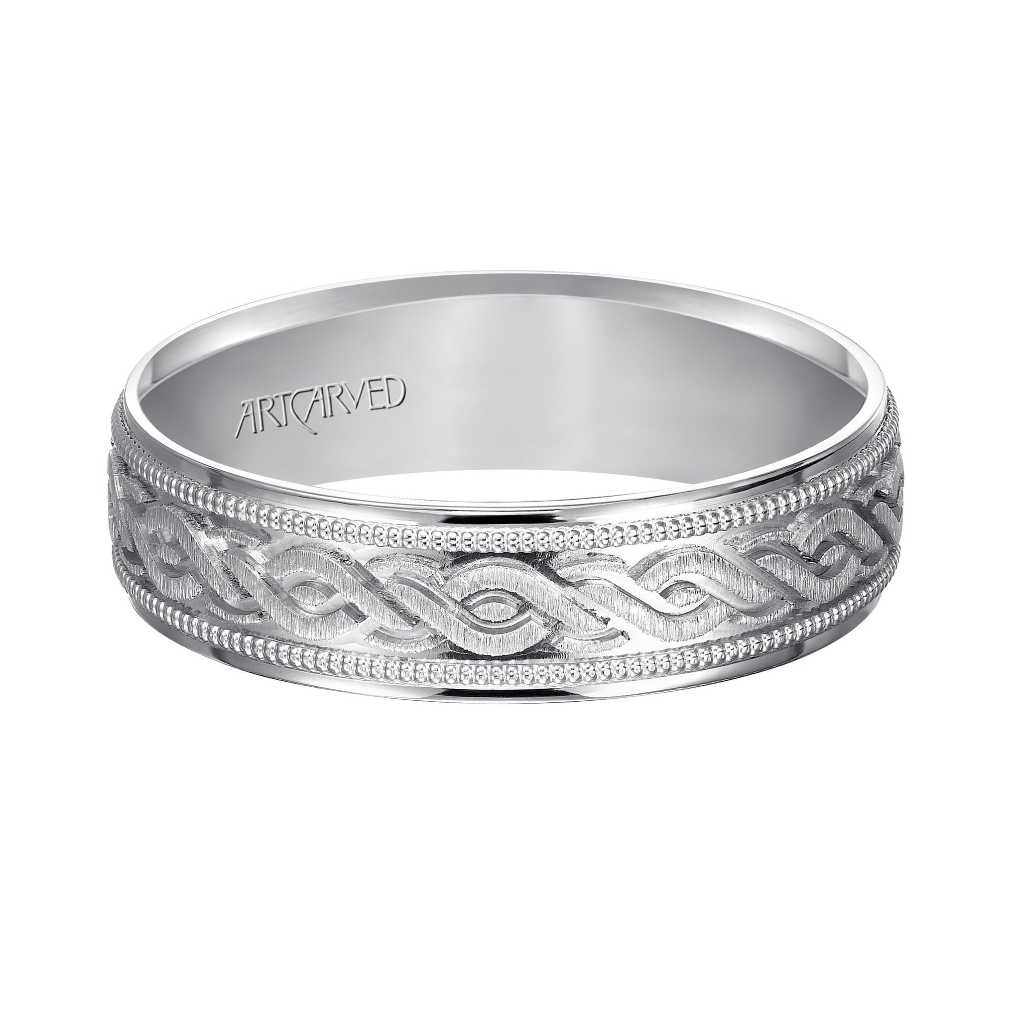 14K White Gold Engraved Band