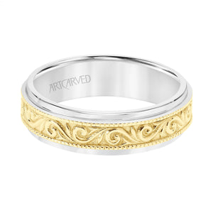 14K White and Yellow Gold Engraved Band
