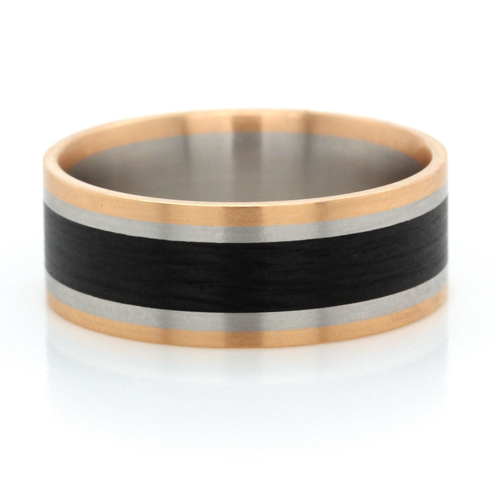18K Rose Gold and Palladium Carbon Fiber Wedding Ring