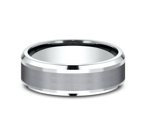 Grey Tantalum and 14k White Gold Band with A Satin Finish Center and High Polish Drop Bevel Edges