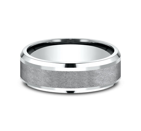 Grey Tantalum and 14k White Gold 7mm Band with A Swirl Finish and Drop Bevel Edges