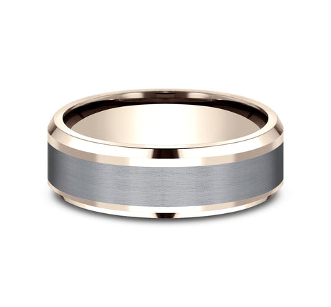 Grey Tantalum and 14k Rose Gold 7mm Band with A Satin Finish Center and High  Polish Drop Bevel Edges