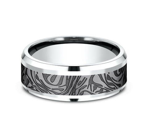 Grey Tantalum and 14k White Gold 8mm Band with A Mokume Design Pattern and Drop Bevel Edges