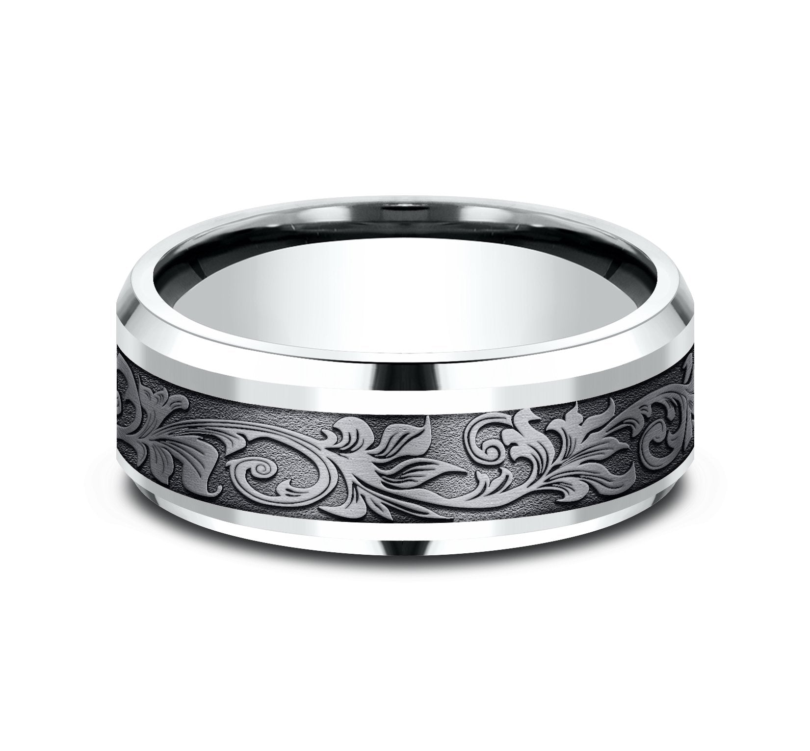 Grey Tantalum and 14k White Gold 8mm Band