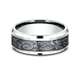 14K White Gold Tantalum Band