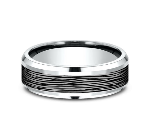 Grey Tantalum and 14k White Gold 7mm Band with A Black Detail Horizontal Mini Bark Pattern