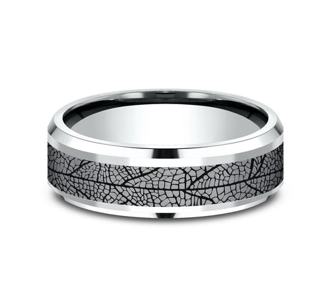 Grey Tantalum and 14k White Gold 7mm Band with A Black Detail Leaf Pattern