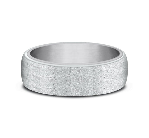 Grey Tantalum and 14k White Gold 6 5mm Ring-In-Ring Style Band with A Swirl Finish