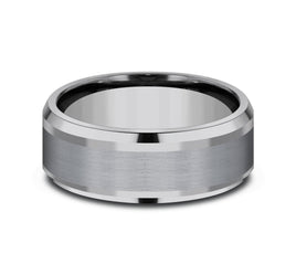Grey Tantalum 8mm Band with A Swirl Finish and High Polished Edges