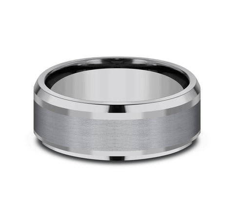 Grey Tantalum 8mm Band with A Satin Center and High Polish Edges