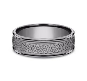 Grey Tantalum 7mm Celtic Knot Pattern with High Polish Edges