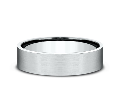 Platinum 6mm Flat Band with Satin Finish