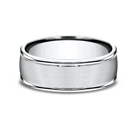 Platinum 8mm Band with A Satin Center and High Polish Rounded Edges