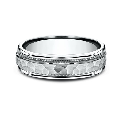 14k White Gold 6mm Band with A Hammer Center and High Polish Rounded Edges