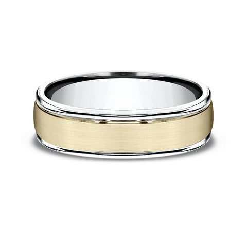 14k Two-Tone 6mm Band with A Yellow Satin Finished Center and White High Polished Rounded Edges