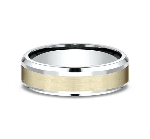 14k Two-Tone 6mm Band with A Yellow Satin Finished Center and White High Polished Beveled Edges