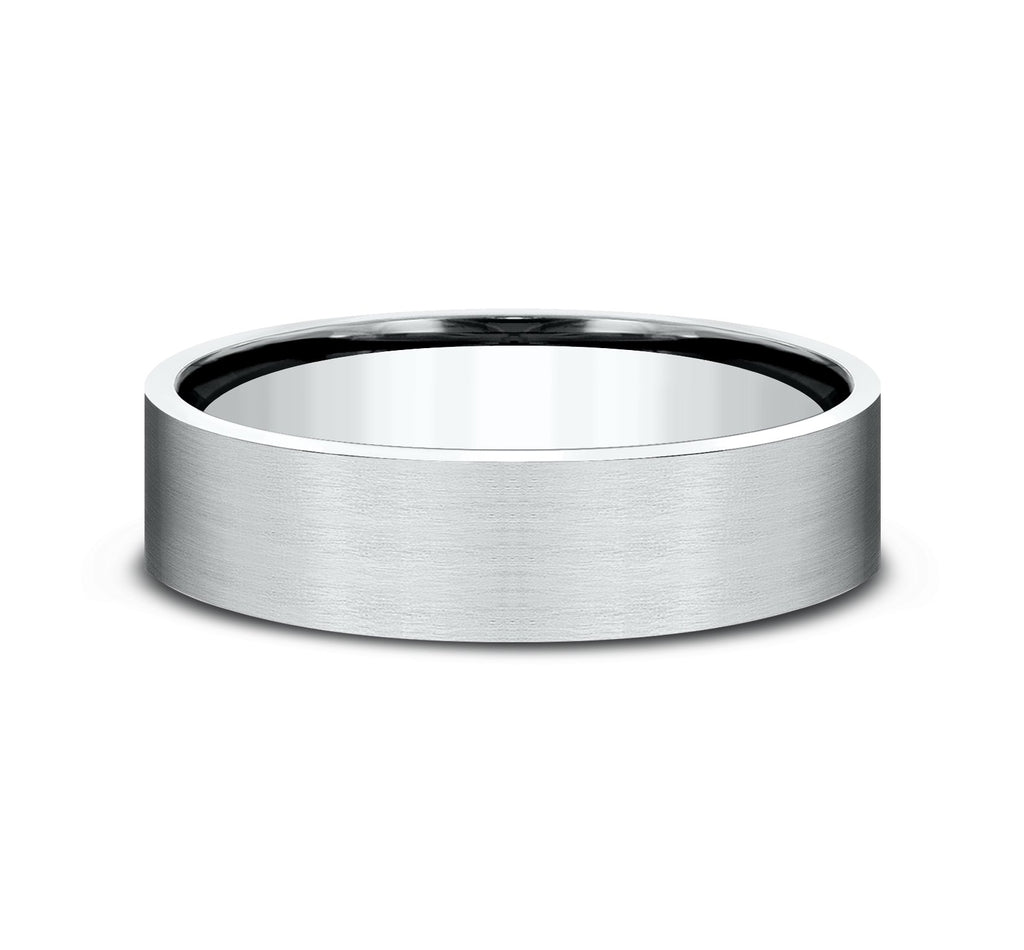14k White Gold 6mm Flat Band with Satin Finish