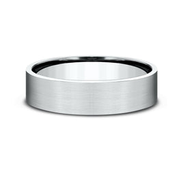 14k White Gold 6mm Band with Satin Center and High Polished Edges with Cuts