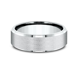 14k White Gold 8mm Band with A Satin Center and High Polish Rounded Edges