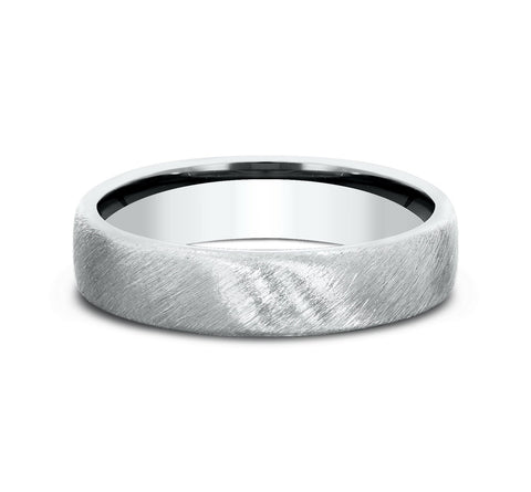 14k White Gold 5 5mm European Comfort-Fit Profile Band with A Diagonal Satin Finish